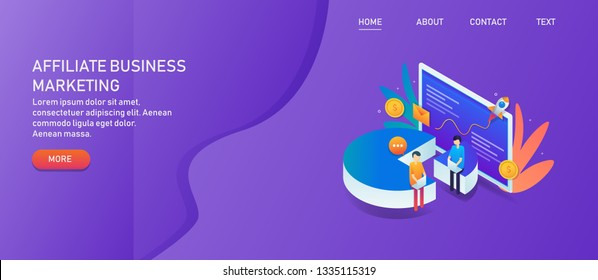 Affiliate business marketing, Working on affiliate programming, 3D isometric vector concept with icons and texts