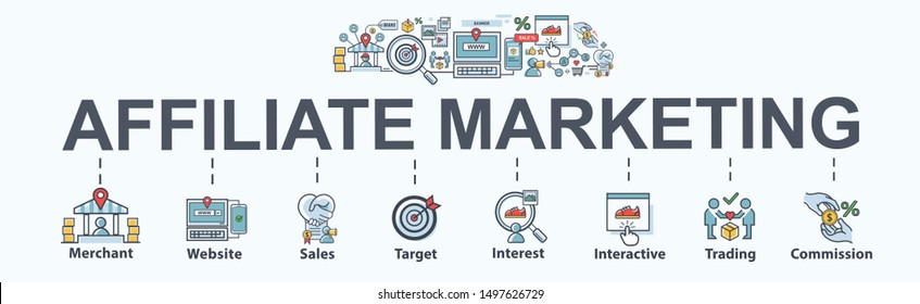 Affiliate marketing banner web icon for e-commerce and social media marketing, website, link, sales, conversion and commission. Flat vector infographic.