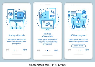 Affiliate marketing blue onboarding mobile app page screen vector template. Affiliate advertising walkthrough website steps with linear illustrations. UX, UI, GUI smartphone interface concept