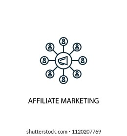 affiliate marketing concept line icon. Simple element illustration. affiliate marketing concept outline symbol design from online business set. Can be used for web and mobile UI/UX