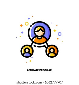 Affiliate marketing, partner program or referrals network concept. Icon with group of people. Flat filled outline style. Pixel perfect. Editable stroke. Size 64x64 pixels