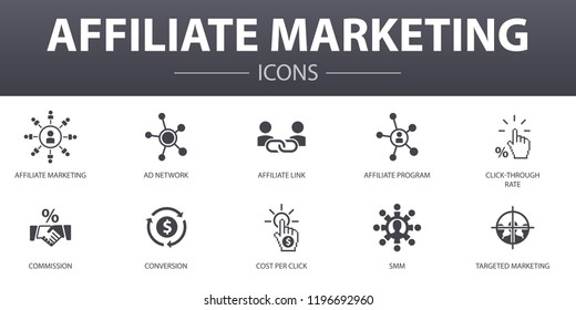 affiliate marketing simple concept icons set. Contains such icons as Affiliate Link, Commission, Conversion, Cost per Click and more, can be used for web, logo, UI/UX