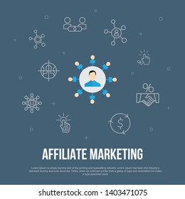affiliate marketing trendy UI flat concept with simple line icons. Contains such elements as Affiliate Link, Commission, Conversion, Cost per Click and more