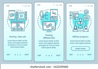 Affiliate marketing turquoise onboarding mobile app page screen vector template. Affiliate advertising walkthrough website steps with linear illustrations. UX, UI, GUI smartphone interface concept
