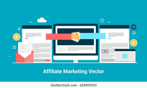 Affiliate marketing vector, business partnership, referral program flat style vector banner