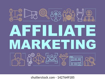 Affiliate marketing word concepts banner. Digital marketing tactic. Online sales strategy. Presentation, website. Isolated lettering typography idea with linear icons. Vector outline illustration