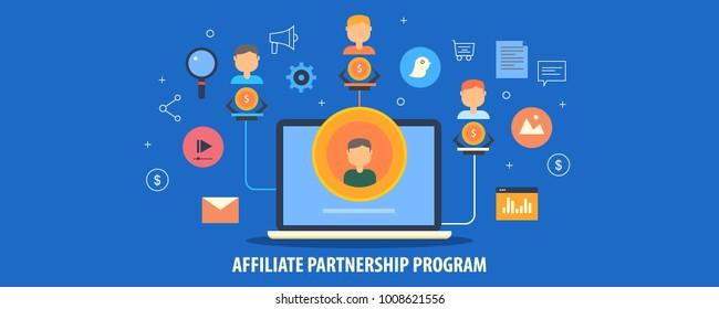 Affiliate partner, partnership program, Affiliate business, Network marketing flat design vector illustration