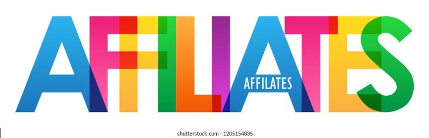 AFFILIATES rainbow letters banner