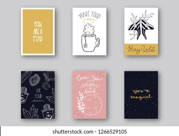 Affirmation greeting card design set with hand-drawn magical design. Vector illustration.