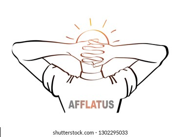 Afflatus. Two hands with interlocked fingers. The bright head lies on the hands. Line drawing. Vector illustration.