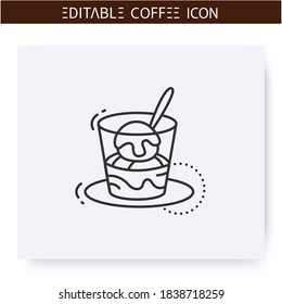 Affogato coffee line icon.Type of coffee drink. Vanilla ice cream topped in hot espresso. Coffeehouse menu. Different caffeine drinks receipts concept. Isolated vector illustration. Editable stroke