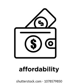 affordability icon isolated on white background, vector illustration