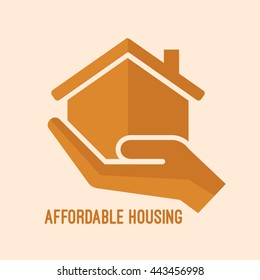 Affordable housing icon. House in hand vector illustration. Flat style