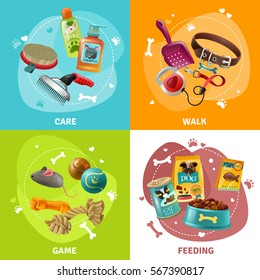 Affordable pet care center service concept with grooming playing and feeding 4 colorful icons square isolated vector illustration