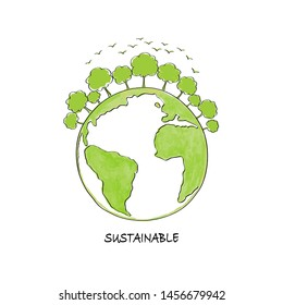Afforest for sustainable development concept with green ecology on earth, vector illustration
