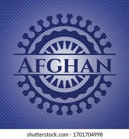 Afghan emblem with jean background. Vector Illustration. Detailed.