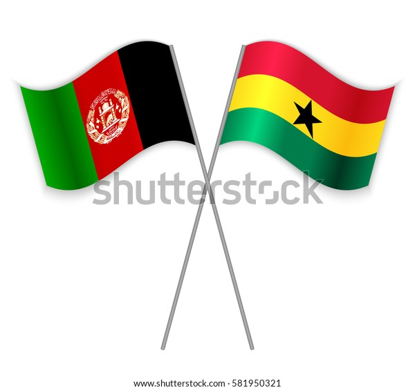 Afghan and Ghanaian crossed flags. Afghanistan combined with Ghana isolated on white. Language learning, international business or travel concept.
