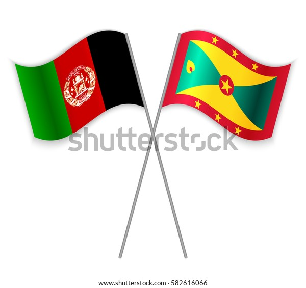 Afghan and Grenadian crossed flags. Afghanistan combined with Grenada isolated on white. Language learning, international business or travel concept.