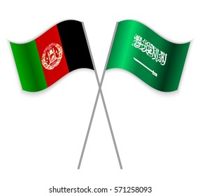 Afghan and Saudi Arabian crossed flags. Afghanistan combined with Saudi Arabia isolated on white. Language learning, international business or travel concept.