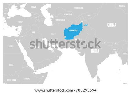 Afghanistan Blue Marked Political Map South Stock Vector Royalty