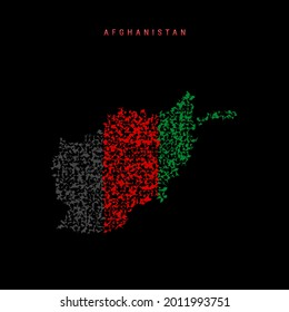 Afghanistan flag map, chaotic particles pattern in the colors of the Afghan flag. Vector illustration isolated on black background.