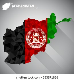 Afghanistan flag overlay on Afghanistan map with polygonal and long tail shadow style (EPS10 art vector)