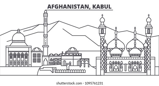 Afghanistan, Kabul line skyline vector illustration. Afghanistan, Kabul linear cityscape with famous landmarks, city sights, vector landscape.