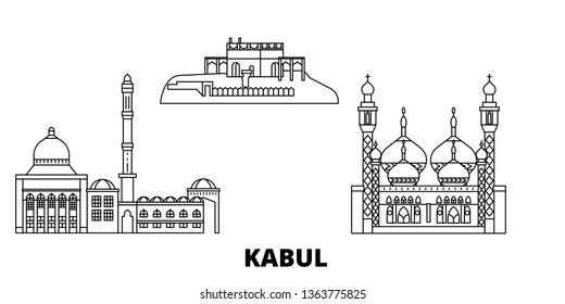 Afghanistan, Kabul line travel skyline set. Afghanistan, Kabul outline city vector illustration, symbol, travel sights, landmarks.