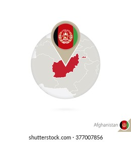 Afghanistan map and flag in circle. Map of Afghanistan, Afghanistan flag pin. Map of Afghanistan in the style of the globe. Vector Illustration.