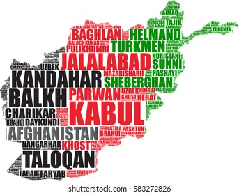 Afghanistan map silhouette vector tag cloud