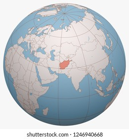 Afghanistan on the globe. Earth hemisphere centered at the location of the Islamic Republic of Afghanistan. Afghanistan map.