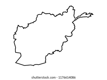 Afghanistan outline map country shape state borders