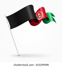 Afghanistan pin icon wavy flag. Vector illustration.