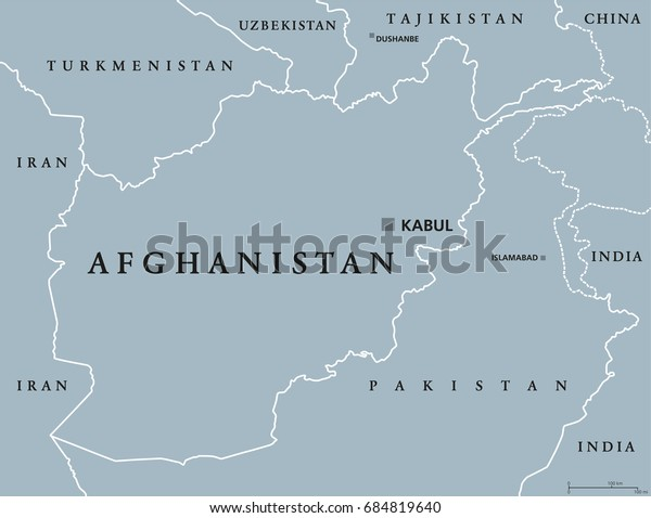 Afghanistan political map with capital Kabul and borders. Islamic Republic and landlocked country in South and Central Asia. Gray illustration. English labeling. Vector.