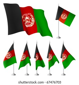 Afghanistan vector flags. A set of flags with metal stand, and one wavy flag fluttering on the wind. Created using gradient meshes. EPS8