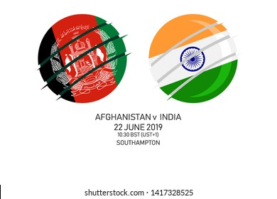 Afghanistan vs India, 2019 Cricket Match, Vector illustration