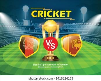 Afghanistan vs Shrilanka  Cricket Championship banner with winning golden trophy and stadium background
