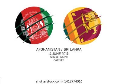 Afghanistan vs Sri Lanka, 2019 Cricket Match, Vector illustration