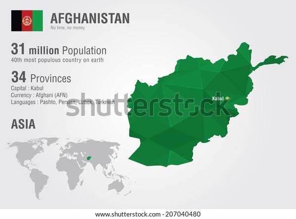 Afghanistan World Map Pixel Diamond Texture Stock ...