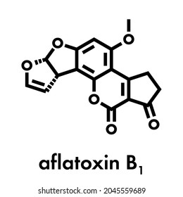 Aflatoxin B1 mold carcinogenic molecule. Skeletal formula.