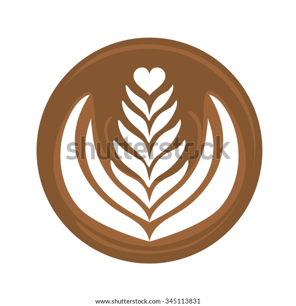 Aflutter Heart Rosetta Latte Art Coffee Logo Icon with white background