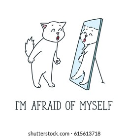 I'm afraid of myself. Doodle vector illustration of funny white cat looking in the mirror