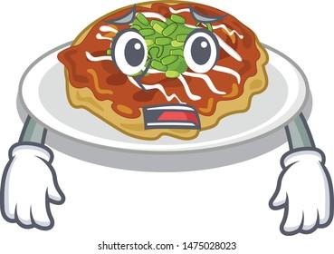 Afraid okonomiyaki isolated with in the character