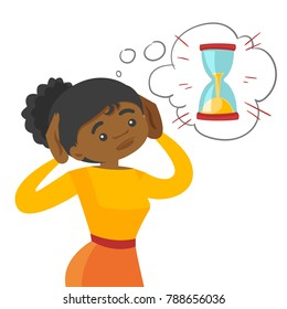 Afraid young african-american business woman looking at hourglass and worrying about deadline terms. Time management and deadline concept. Vector cartoon illustration isolated on white background.