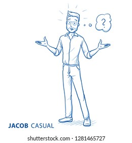 Afraid young man in casual clothes spreading his arms with thought bubble. Hand drawn blue line art cartoon vector illustration.