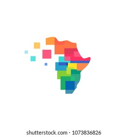 africa abstract colorful tech logo vector icon