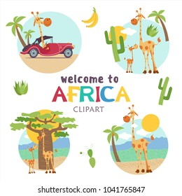 Africa. African cartoon animals. Set of cute illustrations, icons. Giraffes and African trees.  Welcome to Africa, vector illustration.