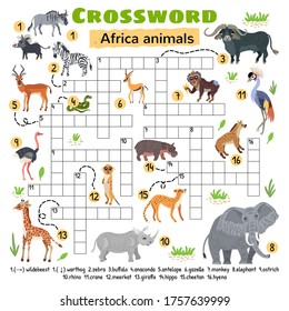 Africa animals crossword. For preschool kids activity worksheet. Children crossing word search puzzle game