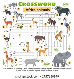 Africa animals crossword. For preschool kids activity worksheet. Children crossing word search puzzle game