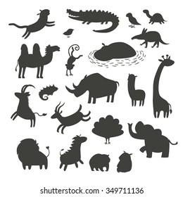 Africa animals silhouettes,isolated on white background vector illustration.Africa animals contour.Africa mammals big vector set.Preschool, baby, drawn, educations. Hippo, elephant, giraffe, lion icon